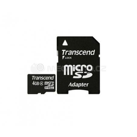 Transcend microSDHC Card 4 GB + Adapter / Class 4